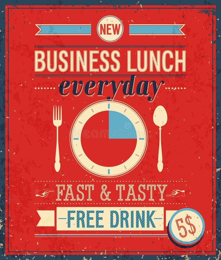 葡萄酒Bussiness午餐海报。 皇族释放例证