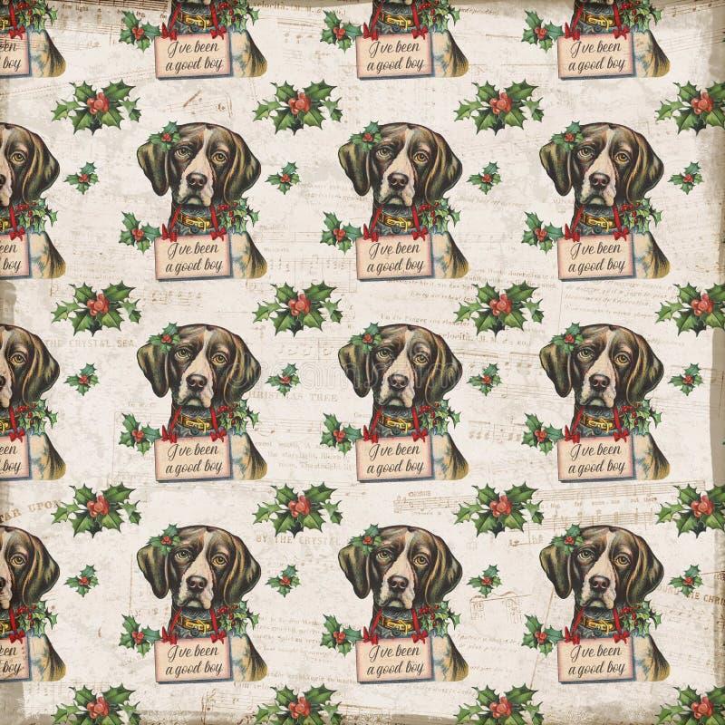 葡萄酒Chrismtas背景-假日拼贴画-霍莉-小狗-长袜-被仿造的数字纸 皇族释放例证