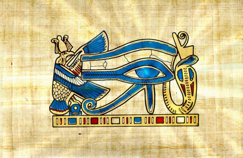 葡萄酒Horus在纸莎草的镭眼睛与太阳发出光线 库存例证
