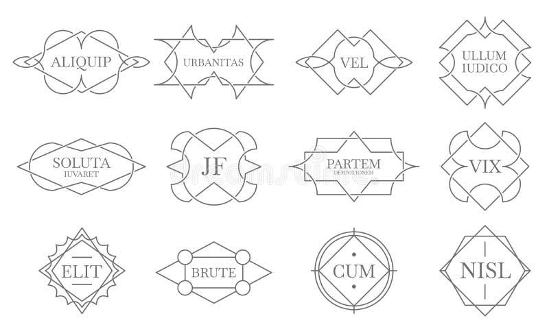 葡萄酒lineart徽章 线邮票框架,装饰徽章标签和减速火箭的线象征传染媒介集合 皇族释放例证