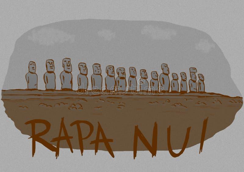 葡萄酒Rapa Nui海岛 向量例证