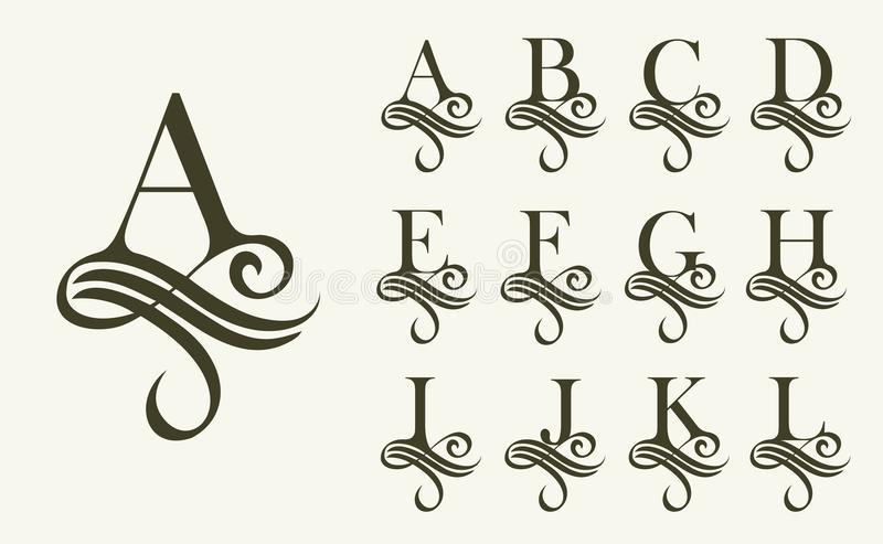 葡萄酒Set1 组合图案和商标的大写字母 美丽的金银细丝工的字体 维多利亚女王时代的样式 向量例证