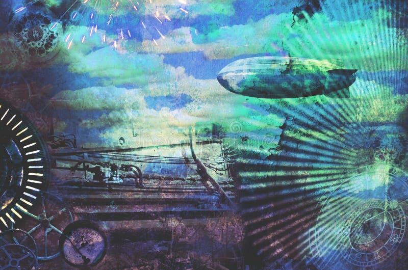 葡萄酒steampunk设计背景 皇族释放例证
