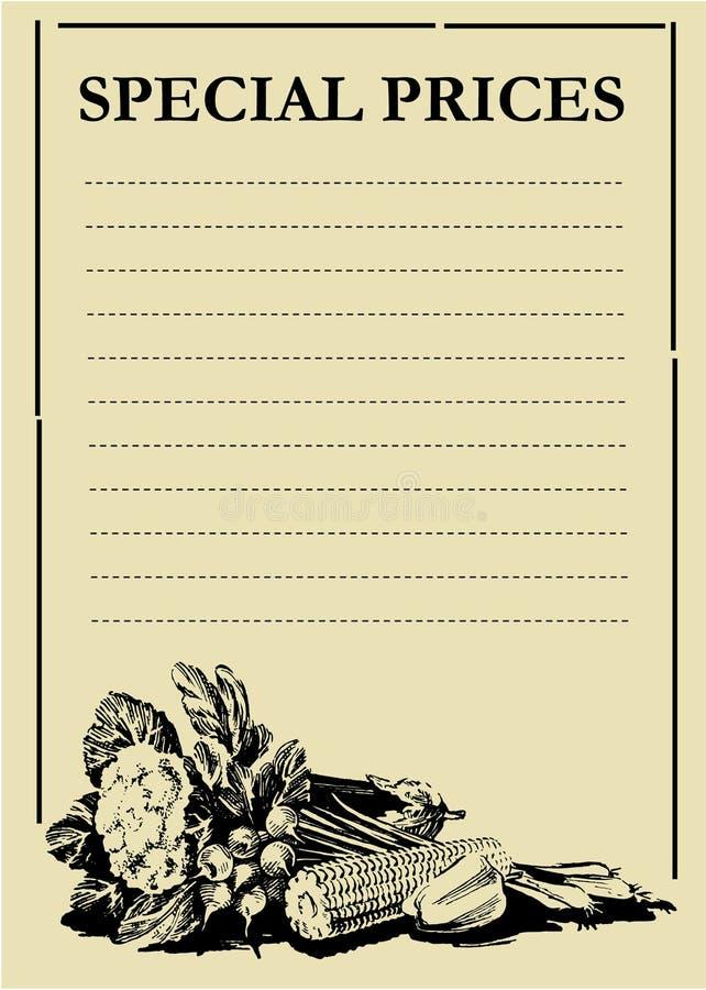 董事会价格蔬菜 皇族释放例证