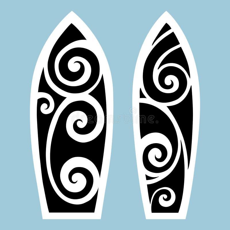 董事会海岸garda海浪 纹身花刺样式 向量例证
