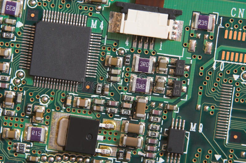 董事会电路微处理器电阻器 免版税库存图片