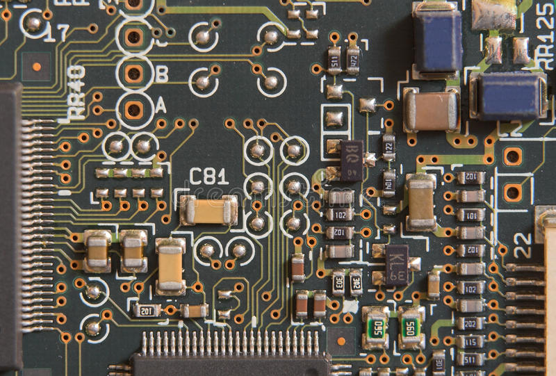 董事会电路微处理器电阻器 免版税库存照片