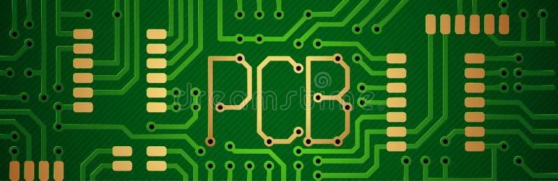 董事会电路打印了 题字pcb 向量例证