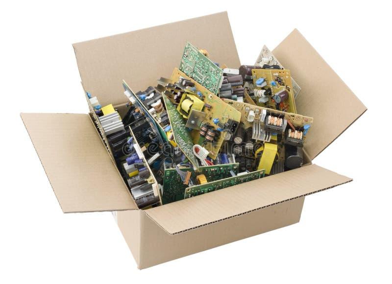 董事会配件箱被打印的电路有缺陷 库存照片