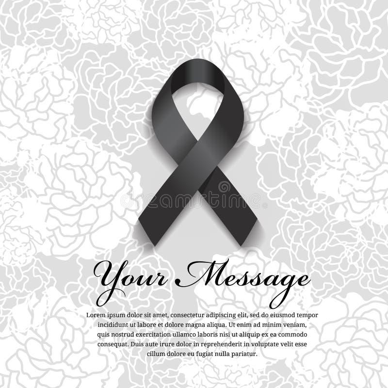 葬礼卡片-黑丝带和地方文本的软的花的提取背景 向量例证