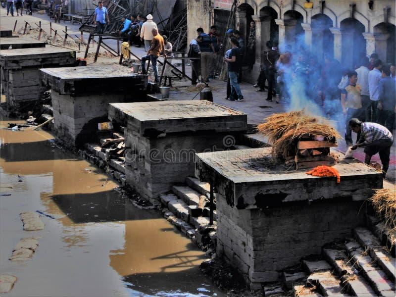 葬礼在Pashupatinath寺庙的Lingams在加德满都 免版税库存图片