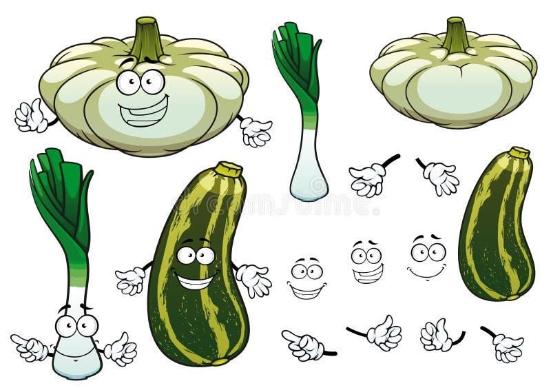 葱、南瓜和夏南瓜菜 向量例证