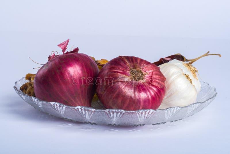 葱大蒜和辣椒 库存图片