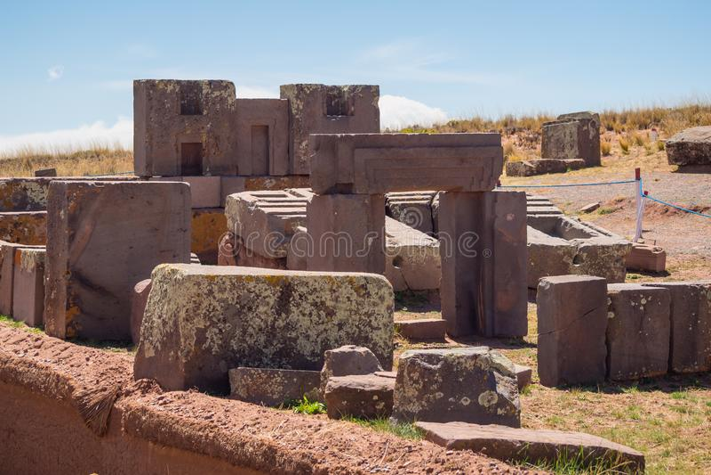 蒂亚瓦纳科蒂亚瓦纳科,哥伦布发现美洲大陆以前考古学站点,玻利维亚 免版税图库摄影