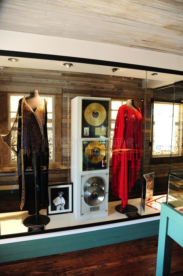 蒂娜・特纳衣物和记录展览在蒂娜・特纳博物馆 免版税图库摄影