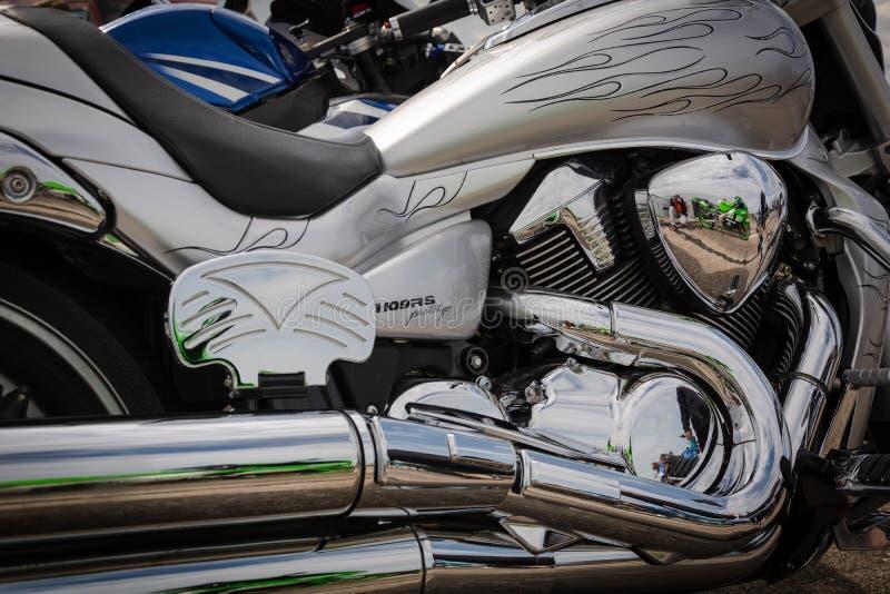 蒂拉斯波尔,摩尔多瓦- 2019年5月11日:M109RS原型铃木摩托车视觉引擎 免版税库存图片