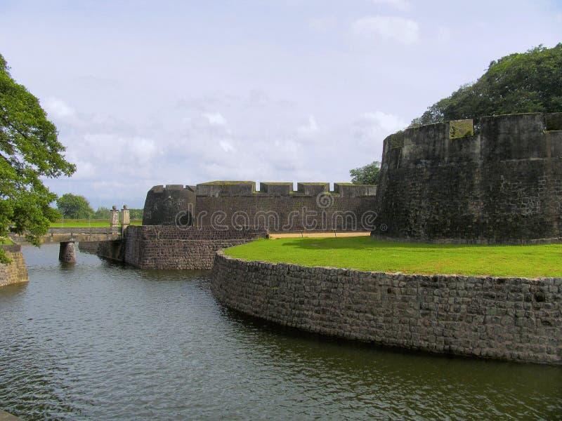 蒂普苏丹堡垒墙壁,帕拉克卡德,喀拉拉,印度 免版税库存图片