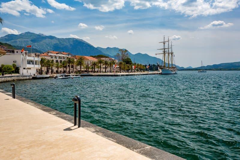 蒂瓦特,黑山,美好的口岸风景 免版税库存图片