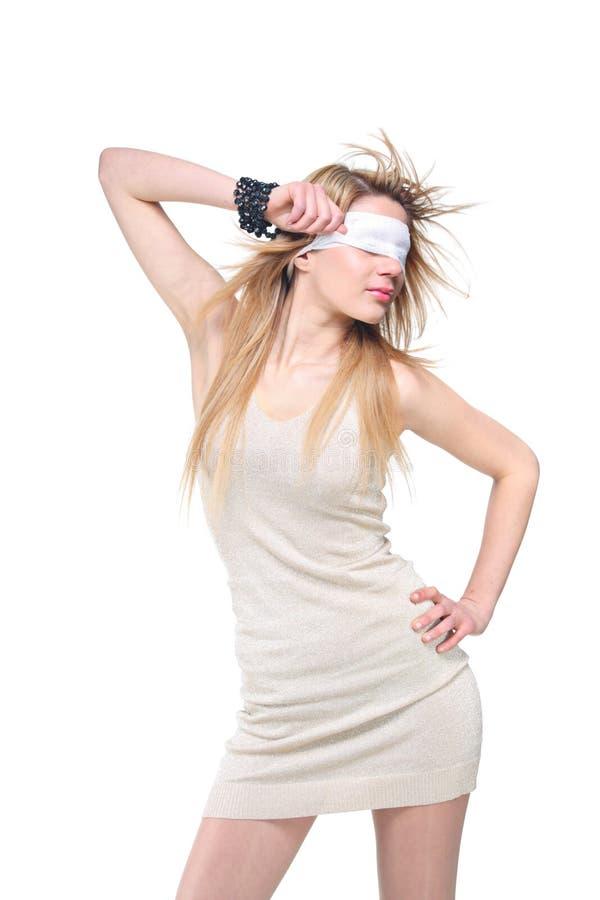 蒙住眼睛的妇女年轻人 免版税库存照片
