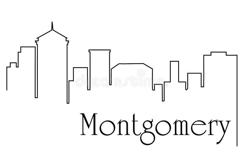 蒙加马利市一线描与都市风景的摘要背景 向量例证