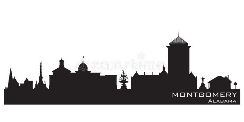 蒙加马利阿拉巴马市地平线传染媒介剪影 向量例证