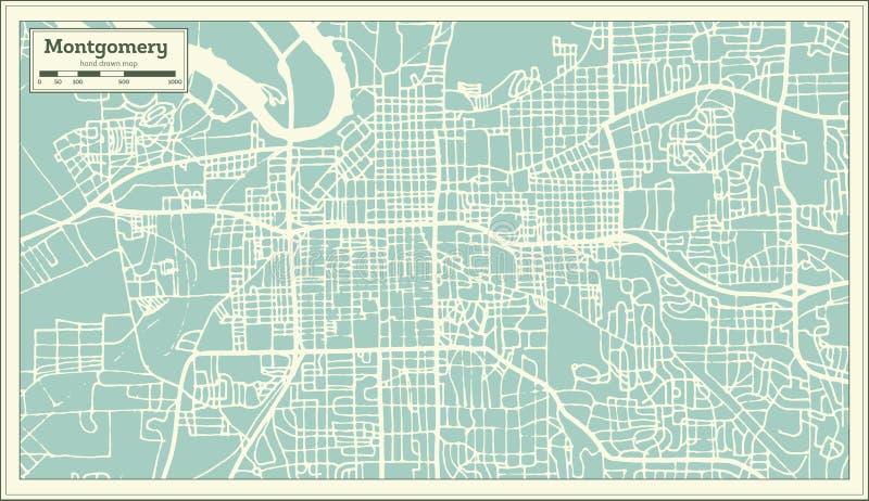 蒙加马利阿拉巴马美国在减速火箭的样式的市地图 黑白向量例证 皇族释放例证