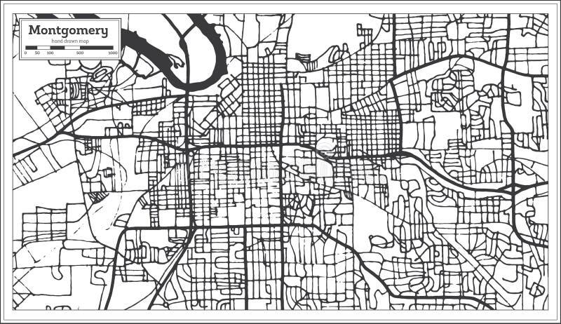蒙加马利阿拉巴马美国在减速火箭的样式的市地图 黑白向量例证 库存例证