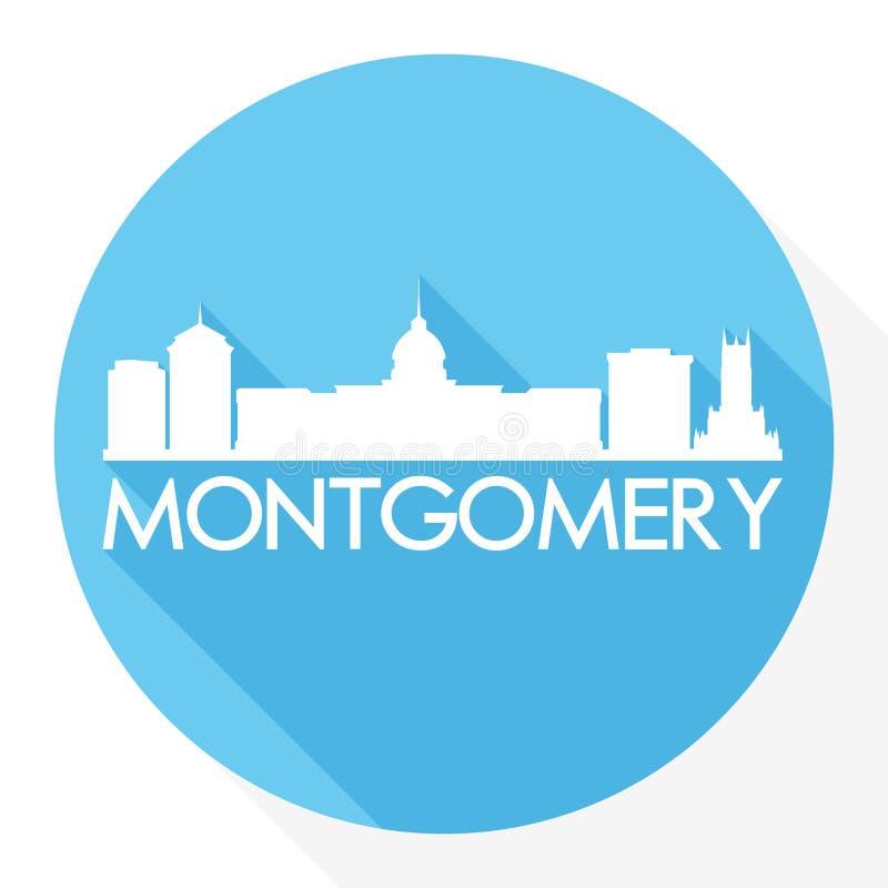 蒙加马利阿拉巴马首都美国圆的象传染媒介艺术平的阴影设计地平线城市剪影模板商标 皇族释放例证