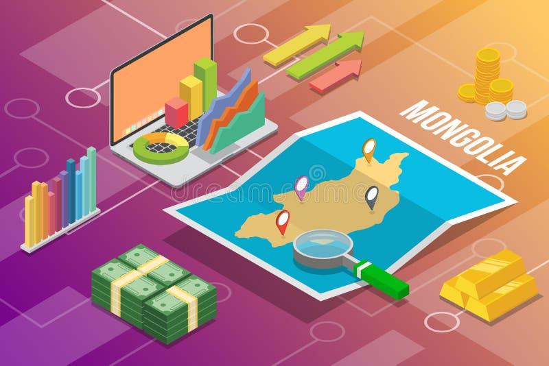 蒙古东亚等量企业经济成长国家以地图和财务情况-传染媒介例证 皇族释放例证