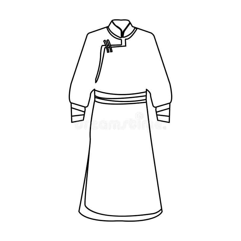 蒙古人蓝色浴巾 片段蒙古的nominalnog衣裳 在概述样式传染媒介标志的图片