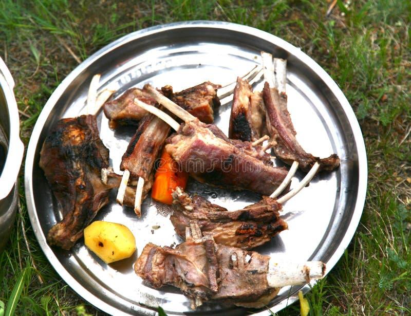 蒙古传统食物在Ulaanbaatar的,蒙古Gorkhi-Terelj国家公园 免版税库存图片