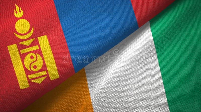 蒙古和科特迪瓦象牙海岸两旗子织物纹理 皇族释放例证