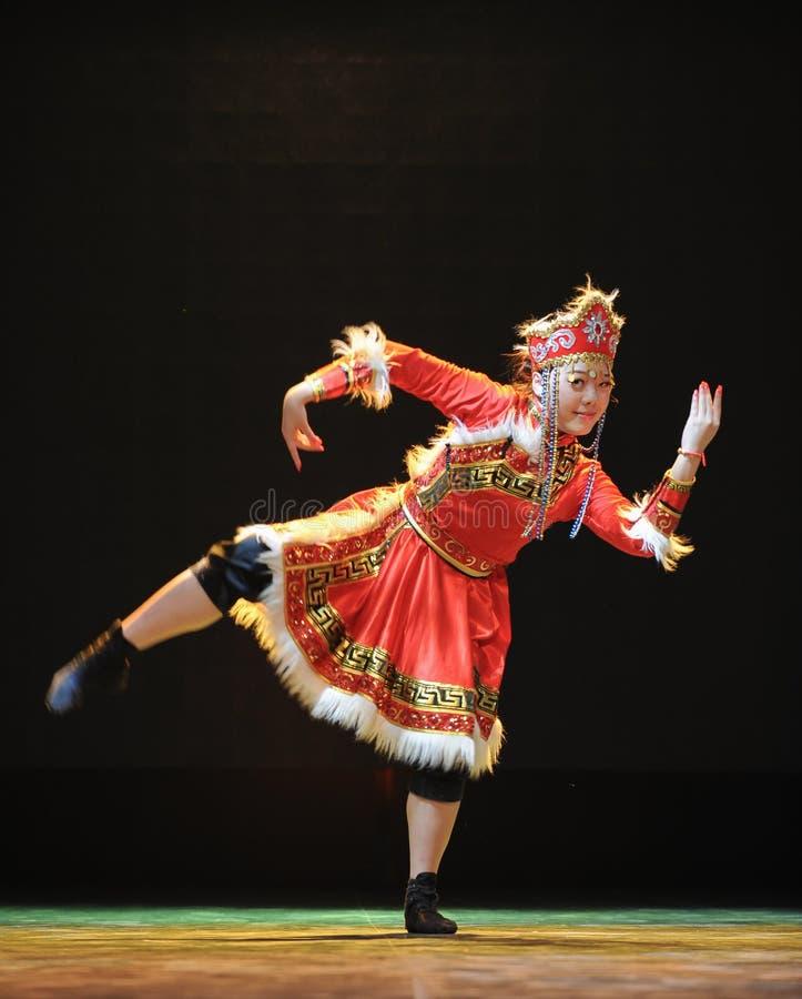 蒙古国籍的舞蹈:牧羊人女孩 图库摄影