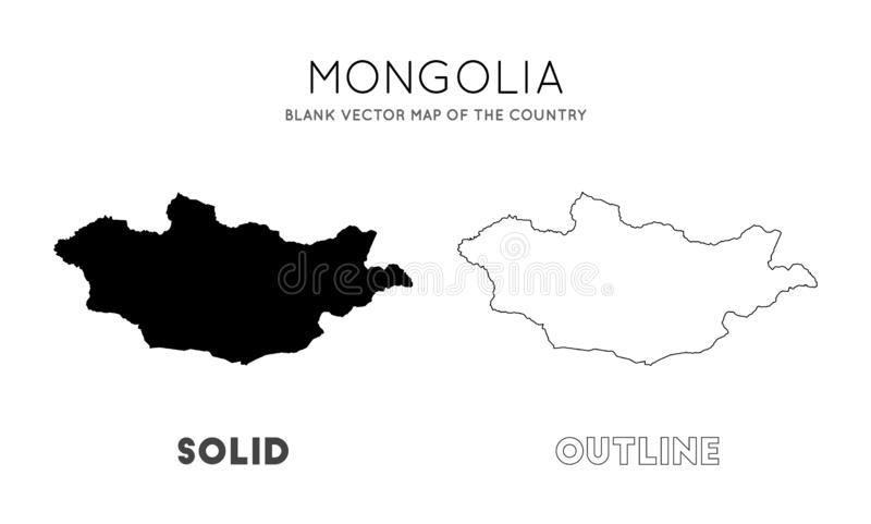 蒙古地图 库存例证