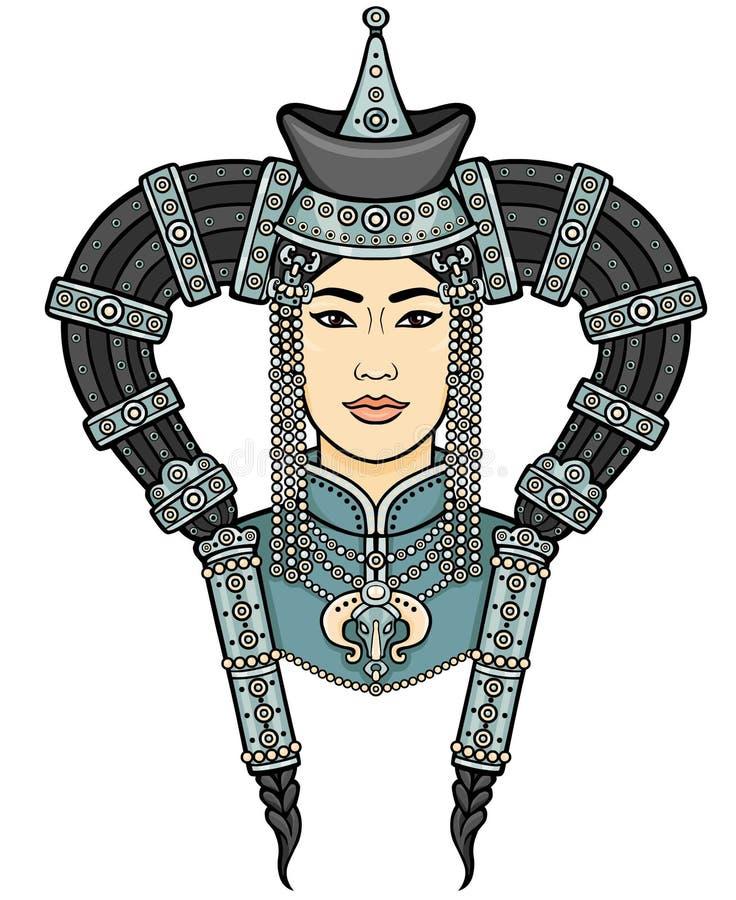 年轻蒙古女孩的画象一样全国头饰的 向量例证