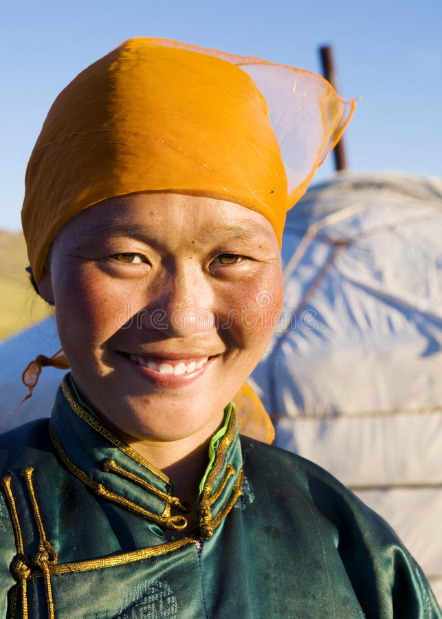 蒙古妇女传统礼服概念 免版税库存图片
