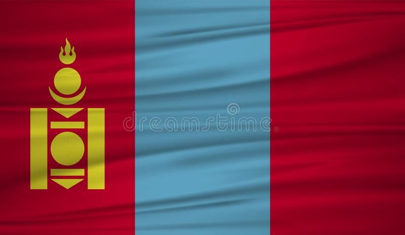 蒙古旗子传染媒介 导航蒙古blowig旗子在风的 向量例证