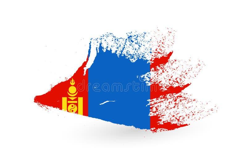 蒙古的手拉的旗子 向量例证