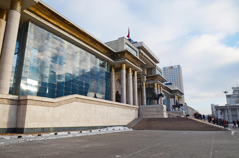 蒙古的政府的宫殿Sukhbaatar广场的在Ulaanbaatar 图库摄影