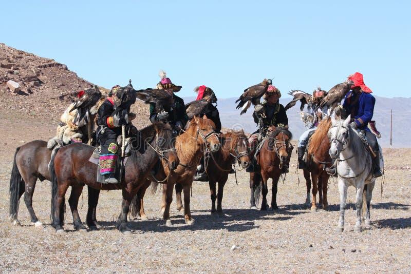 蒙古的horseriders 免版税库存图片