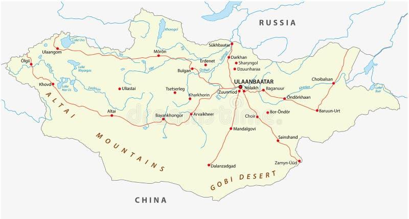 蒙古路线图 向量例证