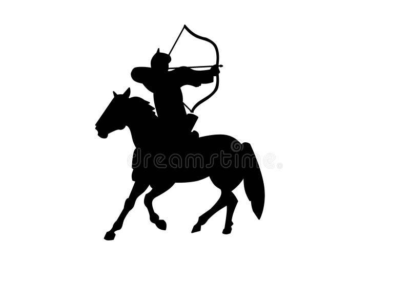 蒙古马射手黑色剪影 皇族释放例证