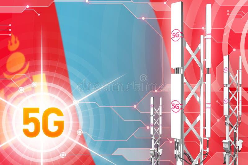 蒙古5G工业例证、巨大的多孔的网络帆柱或者塔在现代背景与旗子- 3D例证 皇族释放例证