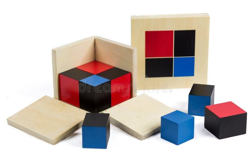 蒙台梭利物质二项式立方体 库存照片
