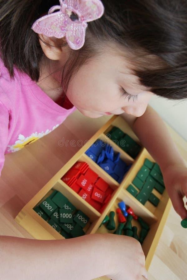 蒙台梭利难题。幼儿园。 免版税图库摄影