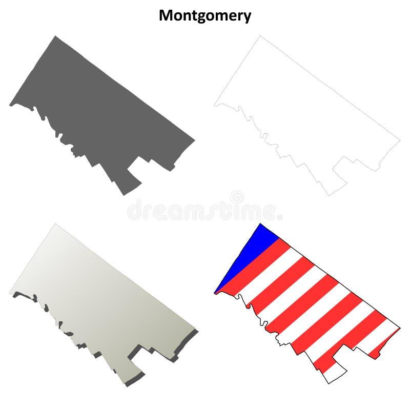 蒙哥马利县,宾夕法尼亚概述地图集合 库存例证