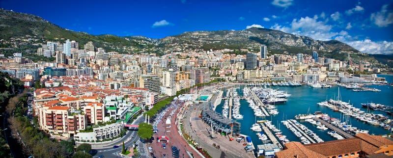 蒙地卡罗全景在摩纳哥 免版税库存照片
