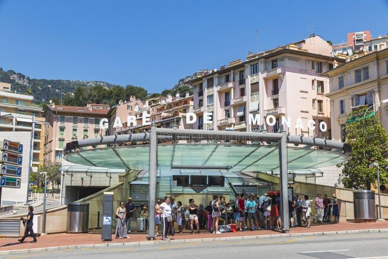 蒙地卡罗火车站(Gare de摩纳哥),摩纳哥 免版税库存图片