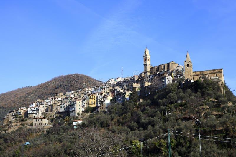 蒙塔尔托ligure村庄视图在冬天,统治权,利古里亚,意大利,欧洲 库存照片