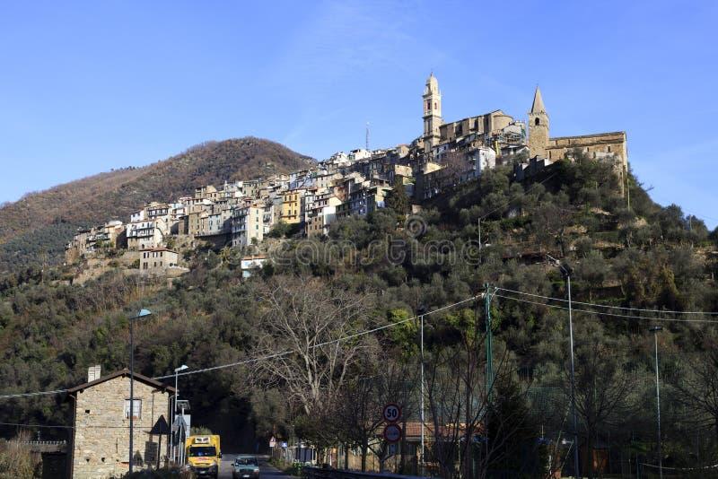 蒙塔尔托ligure村庄,统治权,利古里亚,意大利 库存照片